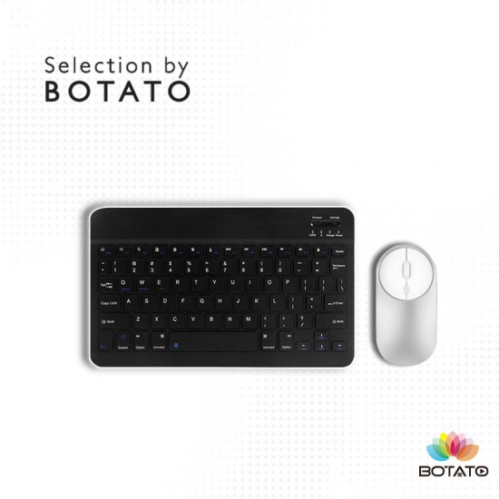 Mini Wireless Keyboard Rechargeable Bluetooth Keyboard with Mouse and Leather Pouch for Tablet/PC/Phone